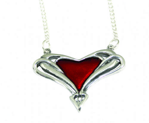 Archibald Knox Enamelled Red Heart Pendant